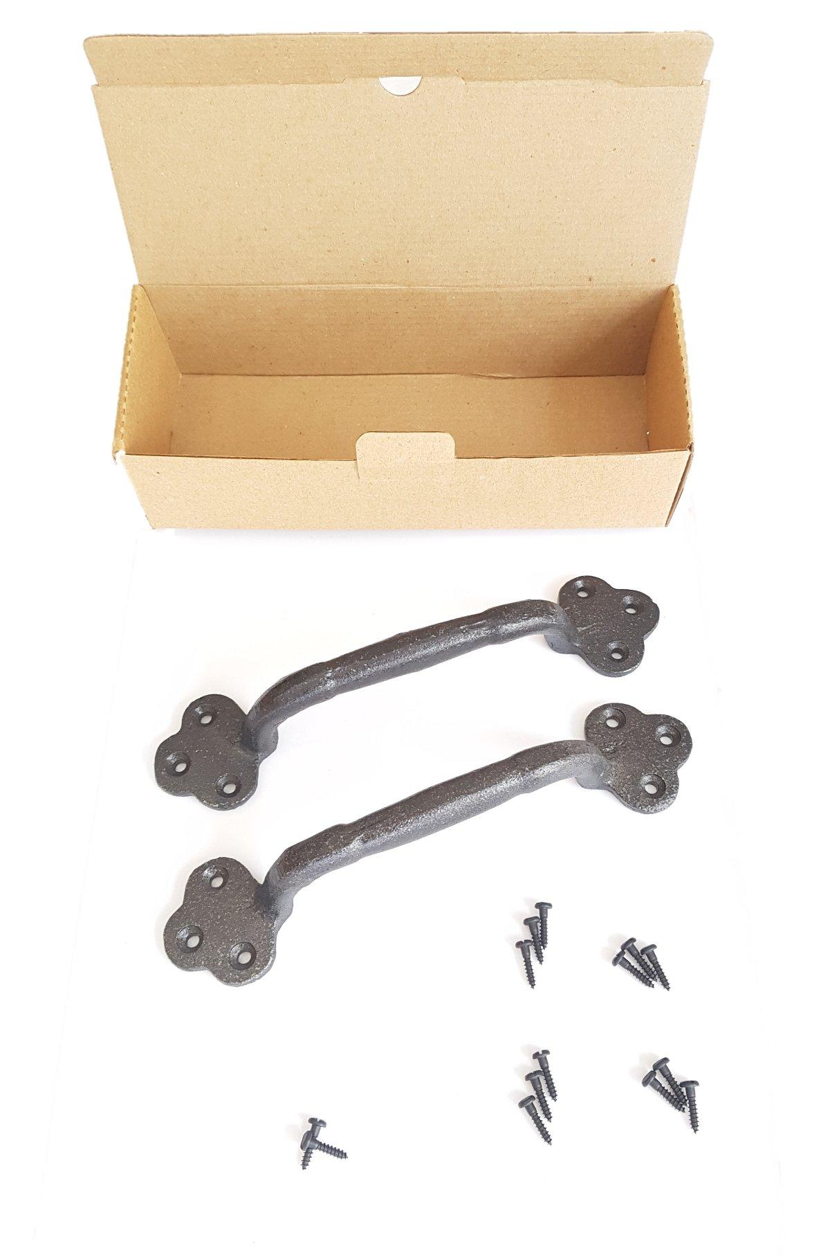 Rustic Cast Iron Gate Door Handle Pull Set of Two With Matching Screws, Barn Door Handle, Door Pulls, Antique Door Hardware, Rustic Handles by DOFER (Image #5)