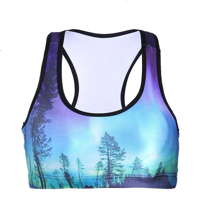 WKAIJCC Mujer Deporte Chaleco Ropa Interior Sujetador Moda Sexy Digital Imprimir Yoga Cómodo Transpirable Salvaje: Amazon.es: Ropa y accesorios