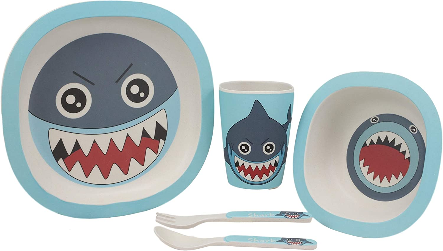 Ebros Whimsical Marine Great White Shark Kids Children Toddler Baby 5 Piece Dinnerware Set Made Of BPA Free Eco Friendly Organic Bamboo Fiber Fork Spoon Plate Bowl And Cup Ideal Baby Shower Gift