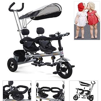 FASCOL® 3 en 1 Triciclos evolutivo para niños/Cochecitos de bebe primera bicicleta tres ruedas triciclos doble para gemelos con parasol y almacenamiento ...