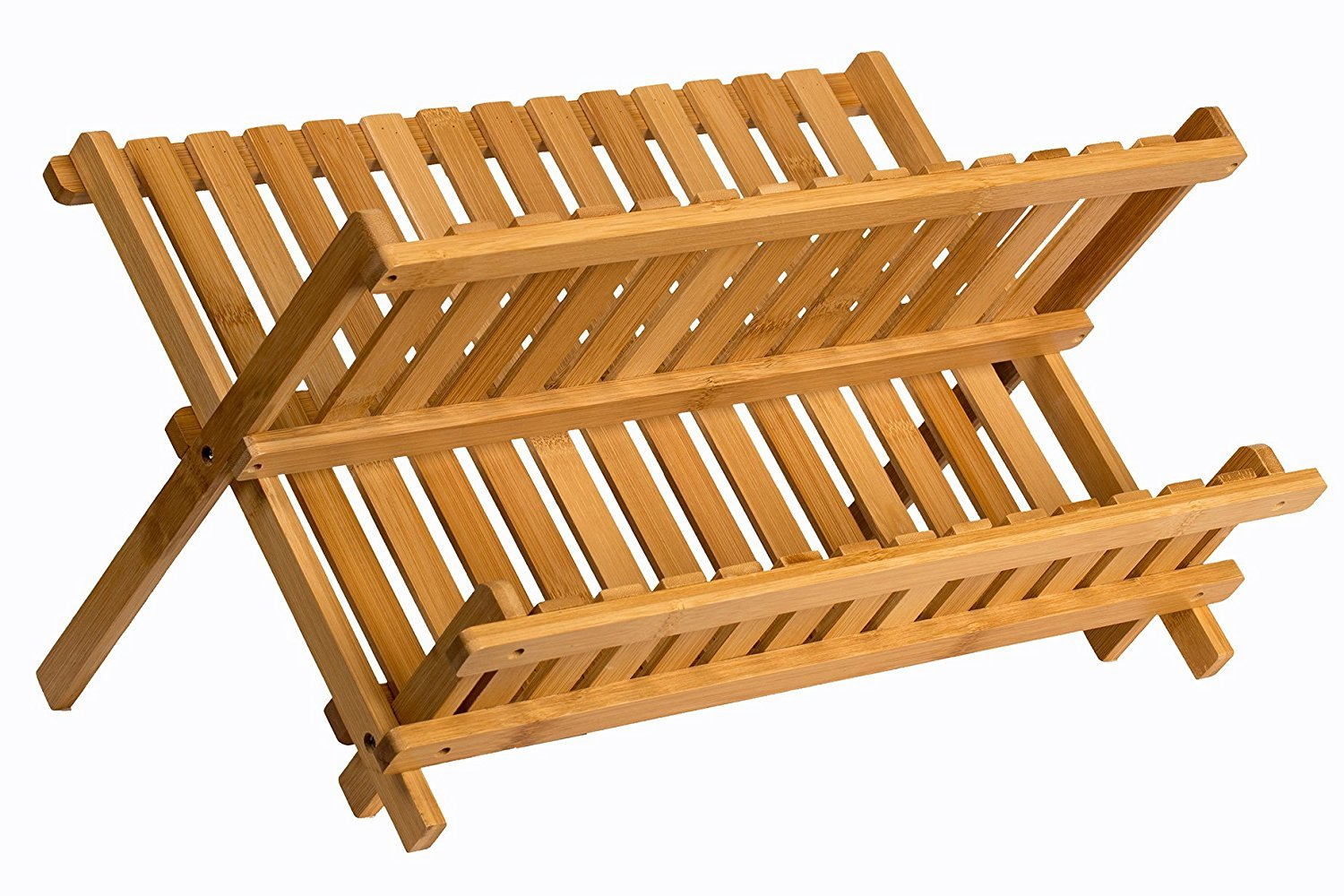 Sagler wooden dish rack plate rack Collapsible Compact dish drying rack Bamboo dish drainer SYNCHKG102922