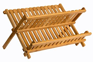 Sagler wooden dish rack plate rack Collapsible Compact dish drying rack Bamboo dish drainer  sc 1 st  Amazon.com & Amazon.com: Sagler wooden dish rack plate rack Collapsible Compact ...