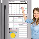 3 Sets Dry Erase Calendar Whiteboard, Magnetic Calendars for Refrigerator Monthly, Weekly, Daily Fridge Notepad, Erasable Mag