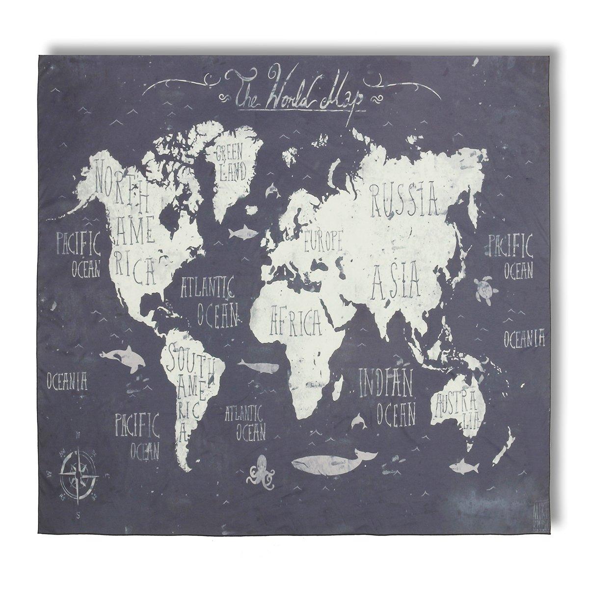 Jeteven Wandteppich mit Weltkarte Riesen Wandbild für Kinderzimmer, Effeket: Aquarell,150X130cm;Mittelalter Stil