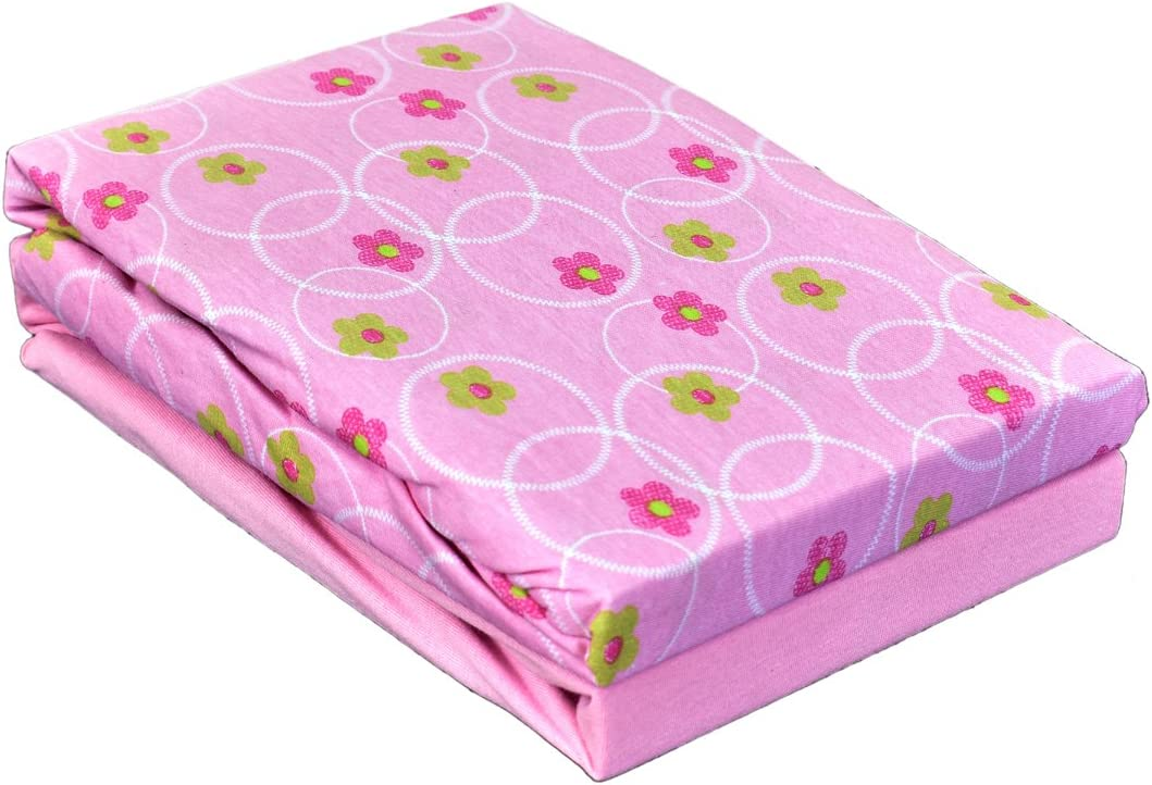 Pack of 2 Dudu N Girlie Cot 100 Percent Cotton Fitted Sheet 120x60cm Flower Pink