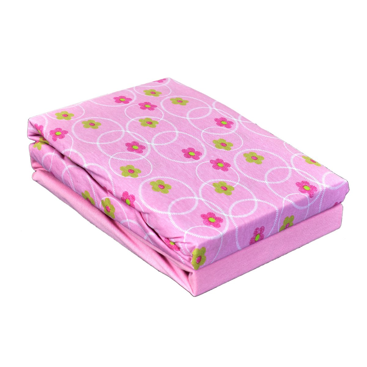 Dudu N Girlie Cot 100 Percent Cotton Fitted Sheet 120x60cm, Flower Pink, Pack of 2 Dudu N Girlie Ltd