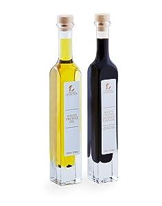 TruffleHunter White Truffle Oil & Balsamic Vinegar Gift Set (2 x 3.38 Oz) Real Truffle Pieces In Bottle Vinaigrette Marinade Olive Oil Gourmet Food Seasoning Salad Dressing - Vegan Vegetarian Kosher