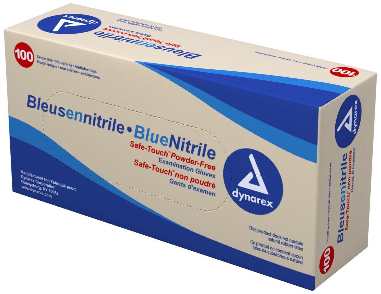 Dynarex 2512 Nitrile Exam Glove (Non-Latex) Powder Free Size, Medium, Blue 100/bx 10bx/cs