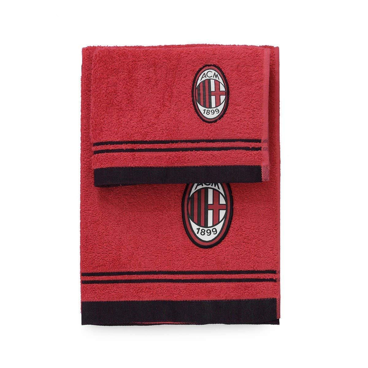vivi casa Asciugamano A.C Milan con OSPITE Set Bagno 1+1 Spugna 100% Cotone Bianco