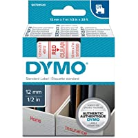 Dymo D1 Standard Labelling Tape 12mm x 7m - Red on Transparent