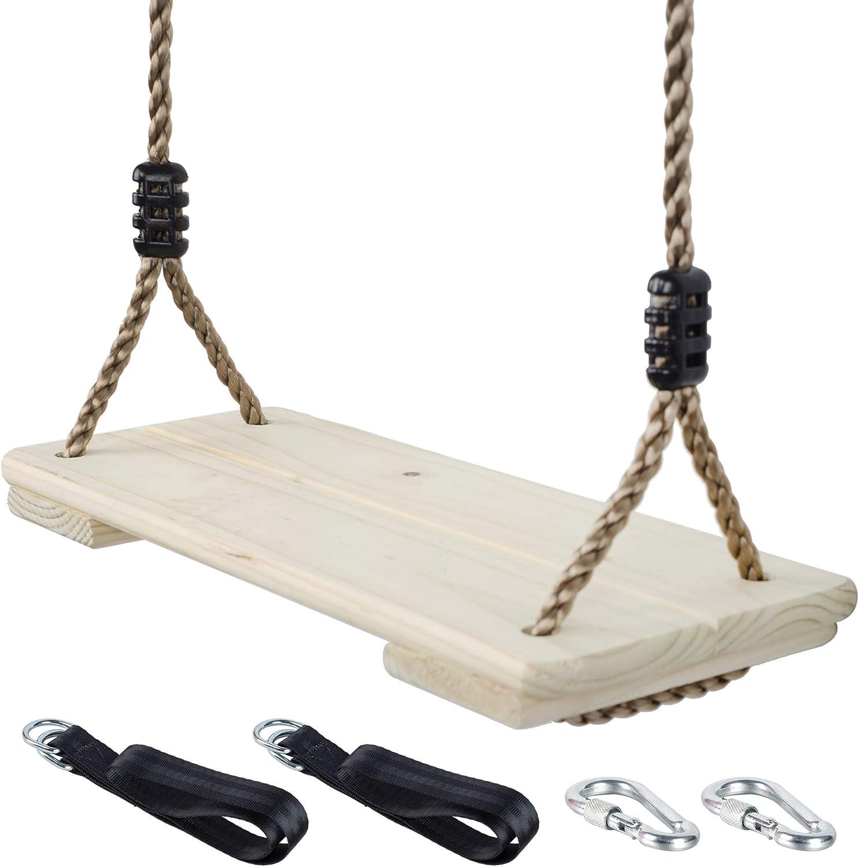 NOSTAFY Pine Wooden Nostalgic Hanging Swing Seat Outdoor Patio & Garden Playground Hammock , Height Adjustable & 2PC Connecting Straps