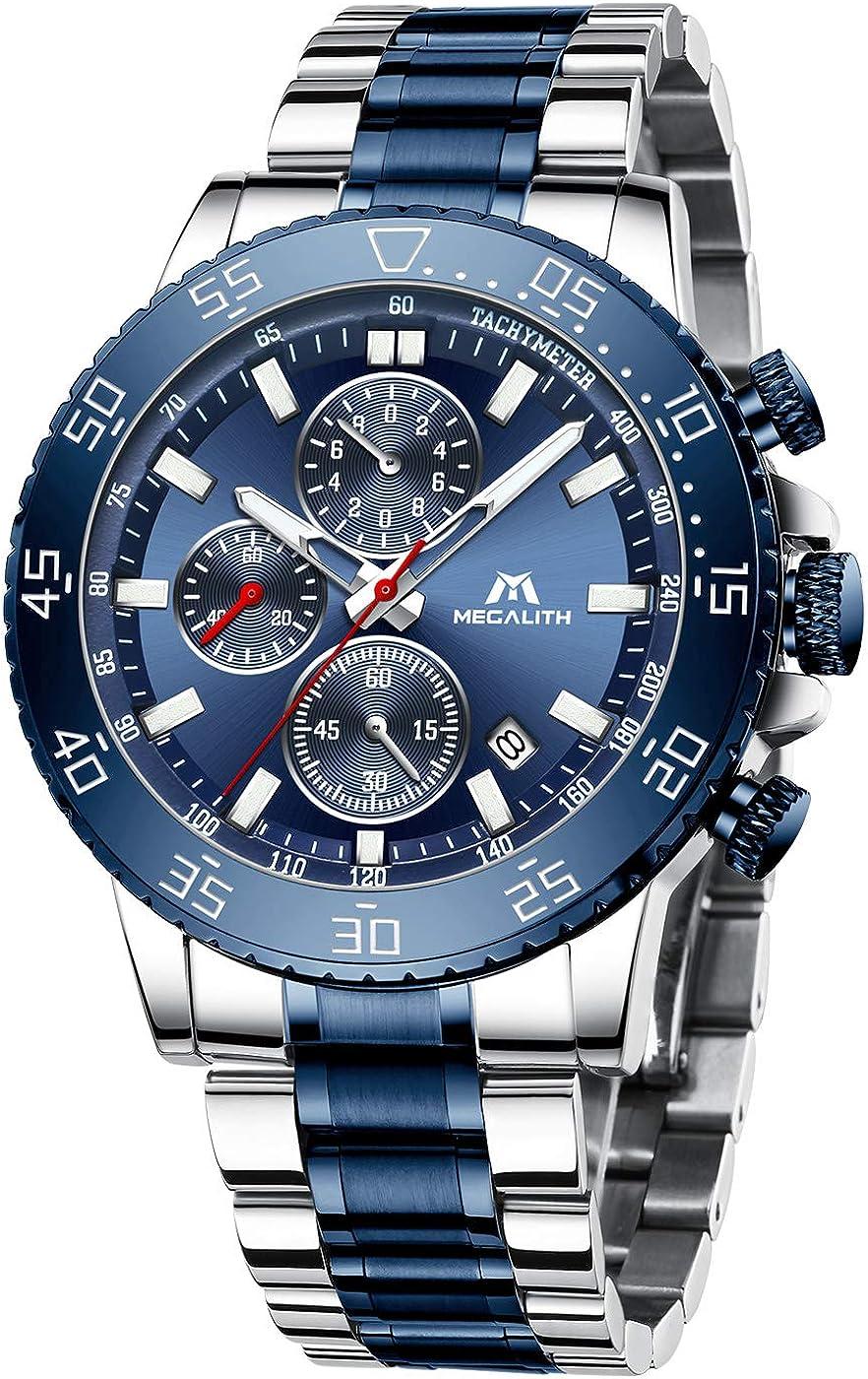 MEGALITH Relojes Hombre Reloj Cronografo Elegante Azul Acero Inoxidable Luminosos Impermeable de Diseño Relojes Grandes de Pulsera Negro Deportivos Analogicos Fecha