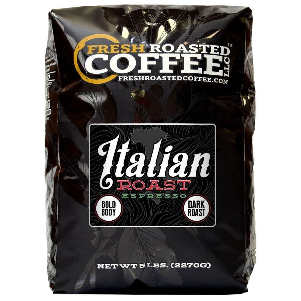 Fresh Roasted Coffee LLC, Italian Roast Espresso Coffee, Whole Bean, 5 Pound Bag by FRESH ROASTED COFFEE LLC FRESHROASTEDCOFFEE.COM