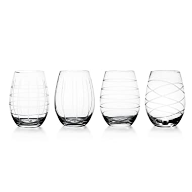Fifth Avenue Crystal Medallion Stemless Wine Goblets, Set of 4