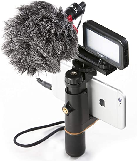 Estabilizador Smartphone Video Rig, Mouriv soporte steady iphone Grabación Estabilizador de agarre de mano Vlogging con micrófono cardioide, Video LED de luz,de aluminio sólido Cold Shoe Extension Bar: Amazon.es: Electrónica