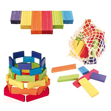 Grimmu0027s Waldorf Rainbow Building Bricks   Colored Wooden Planks Blocks Set  With Net Storage Bag,
