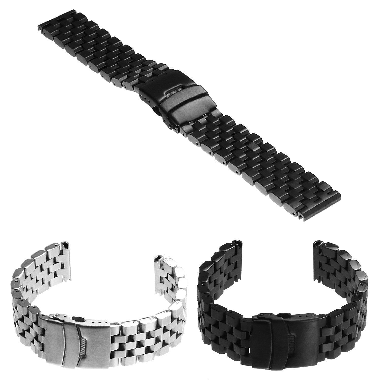 StrapsCoスーパーエンジニアHeavy Dutyステンレススチール時計バンドストラップブレスレット20 mm 22 mm 24 mm 22mm ブラック 22mm|ブラック ブラック 22mm B07BKSQVM5