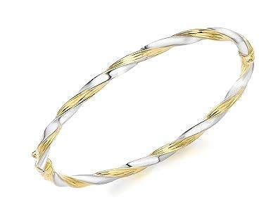 Carissima Gold 9 ct 2 Colour Gold Twist Bangle ArAIoa