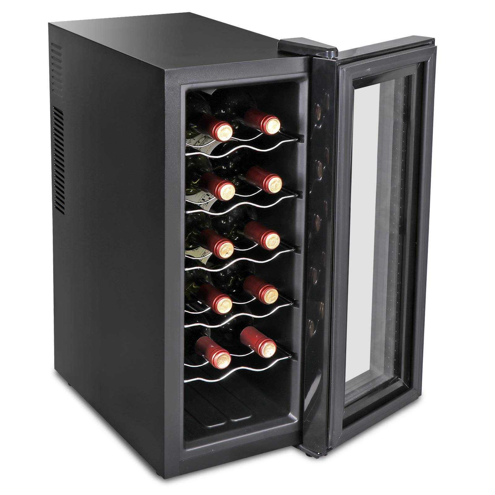 SUPER DEAL Newest 12-Bottle Thermoelectric Wine Cooler Red White Wine ChampagneChiller Counter Top Wine Cellar - Touch Screen Display - Digital Temperature Control - LED Interior Lighting - Quiet and