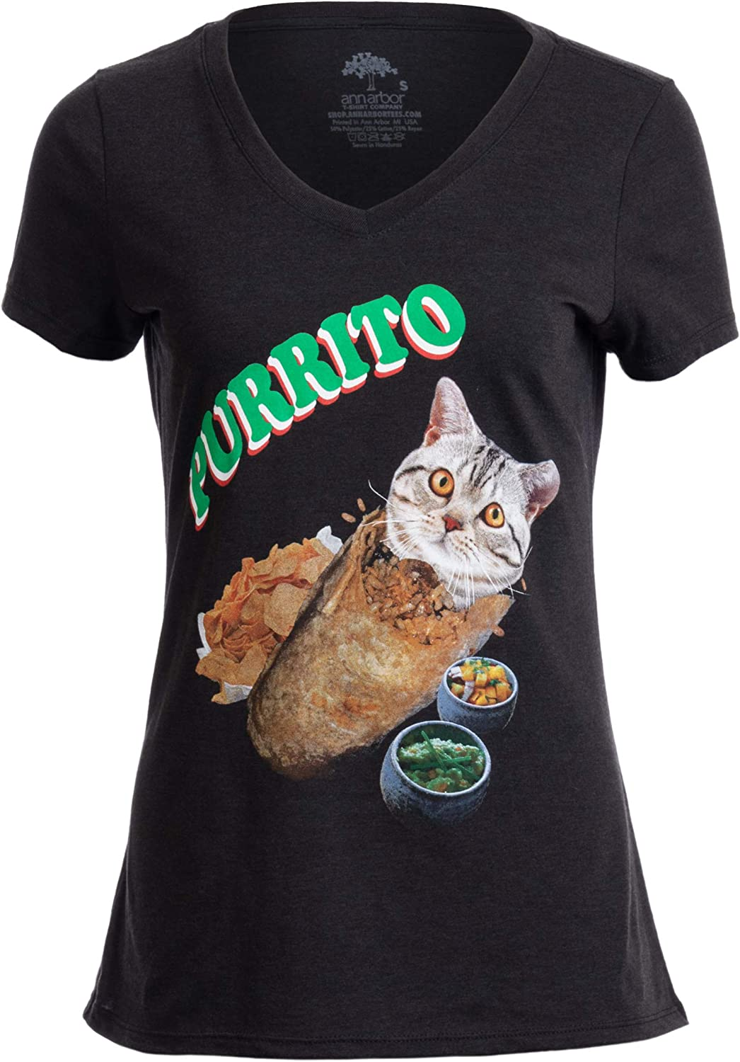 Purrito | Burrito Cat Funny Mexican Food Kitty Salsa Guac Kitten Women T-Shirt
