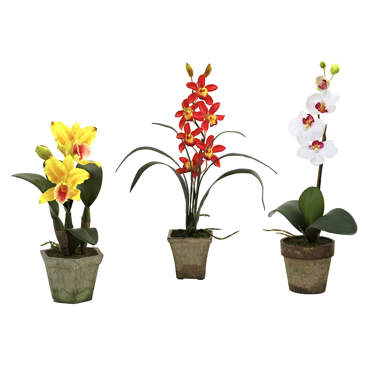 Nearly Natural 4985-A3-S3 Potted Orchid Mix, Yellow/Red/White, Set of 3