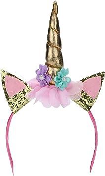 Unicornio en la diadema cuerno Hairband flores animales para ...