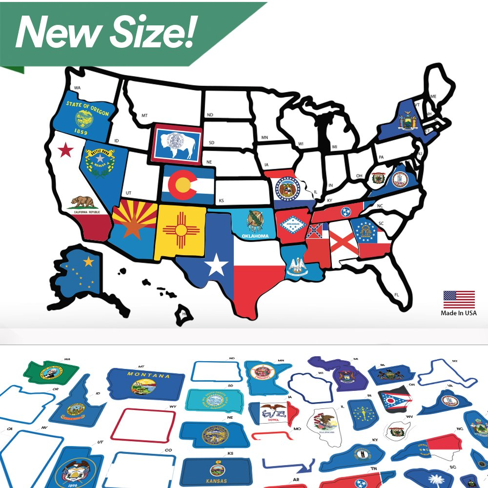 RV State Sticker Travel Map - 21'' x 14.5'' - USA States Visited Decal - United States Non Magnet Road Trip Window Stickers - Trailer Supplies & Accessories - Exterior or Interior Motorhome Wall Decals