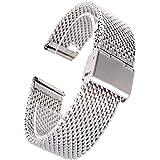 (ドノロロジオ)DonOrologio 腕時計 ステンレス ミラネーゼ ベルト 直カン ワイヤー メッシュ バンド 防水 スライド バックル ( シルバー