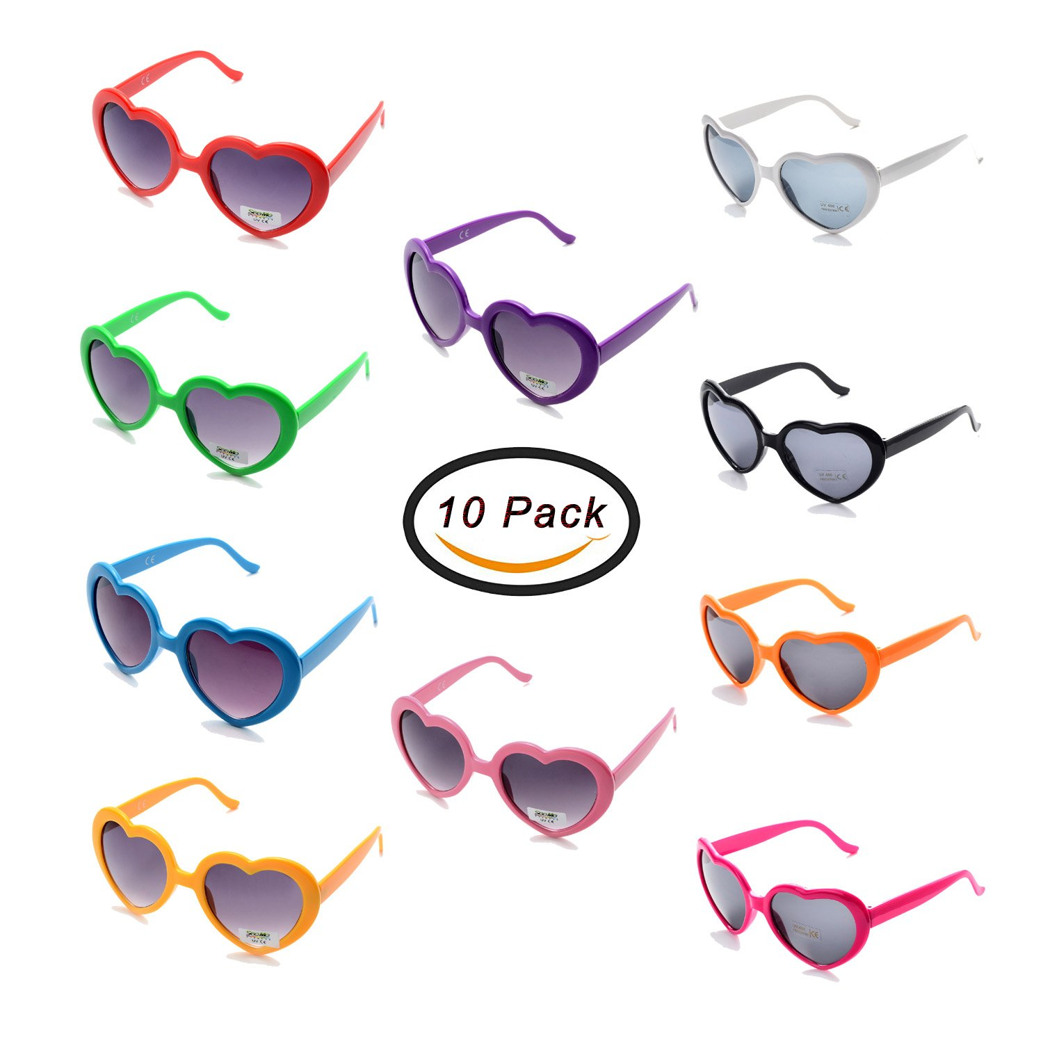 Pack of 10 Neon Heart Shaped Resin Sunglasses for Womens Kids in Party and Festival (Mix10 Pack)