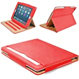 "MOFRED® Red & Tan Apple iPad Air (Launched November 2013) Leather Case-MOFRED®- Executive Multi Function Leather Standby Case for Apple New iPad Air with Built-in magnet for Sleep & Awake Feature -- Independently Voted by ""The Daily Telegraph"" as #1 iPad Air Case!"