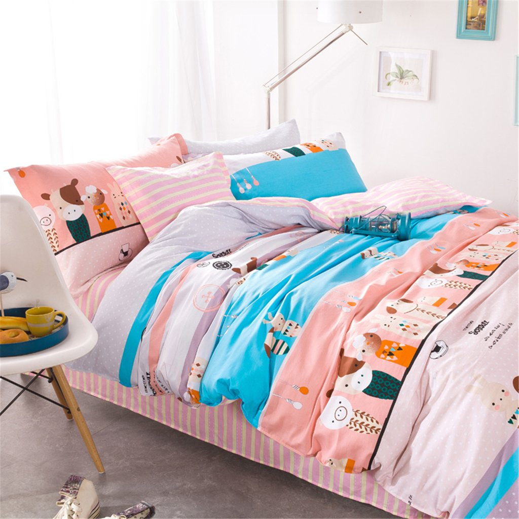 4 Pieces Bedding Sets Duvet Cover Set Enamel Dolls Queen