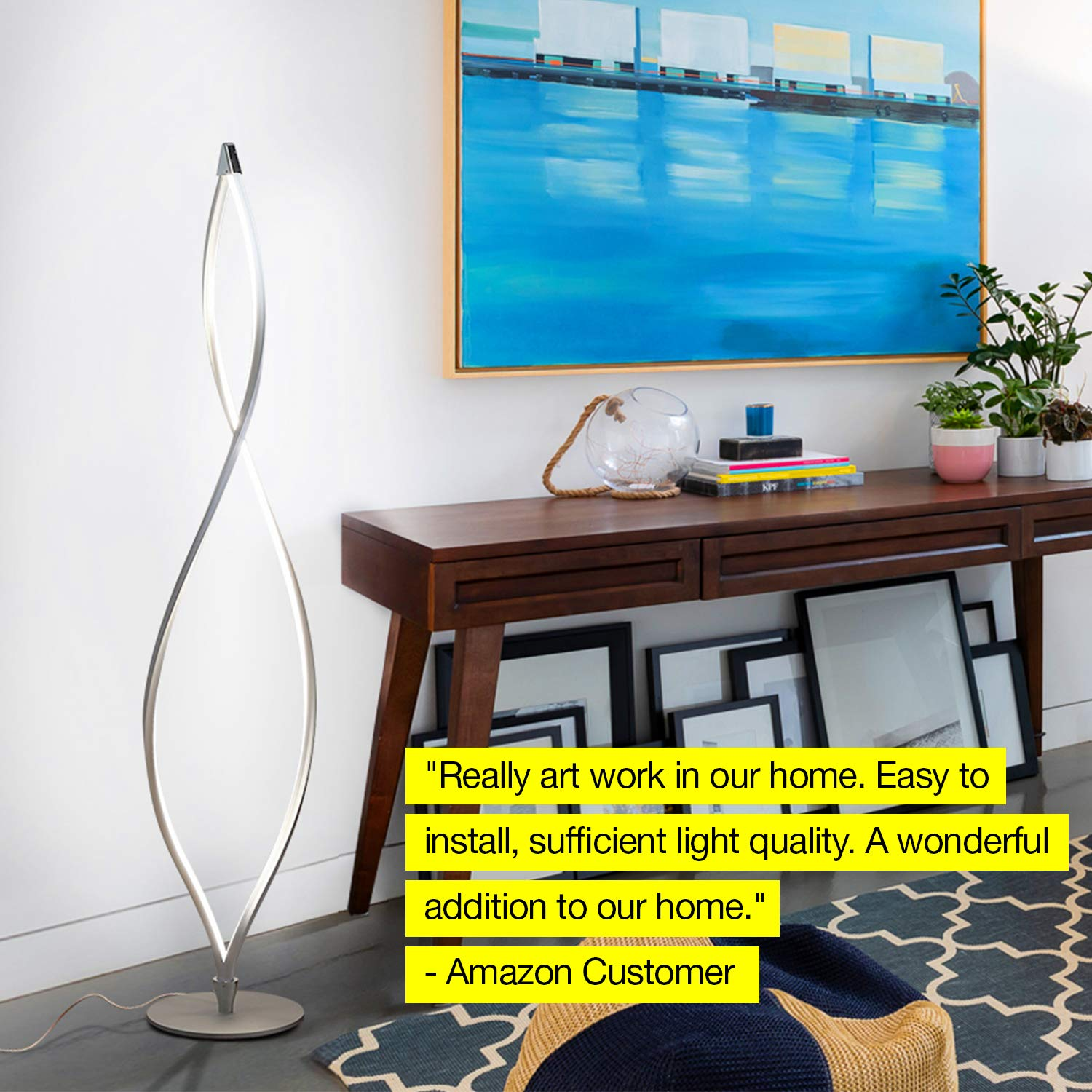 Brightech Twist - Modern LED Living Room Floor Lamp - Bright Contemporary Standing Light - Built in Dimmer Switch with 3 Brightness Settings - Cool, Futuristic Lighting - Silver by Brightech (Image #7)