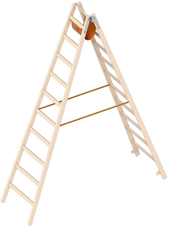 Holzstehleiter 10 Sp Breitsprossen L/änge 2,95m