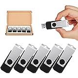TOPESEL 5 Pack 32GB USB Flash Drives Flash Drive Flash Memory Stick Swivel USB 2.0 (32G, 5PCS, Black)
