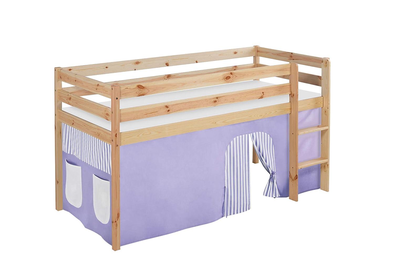 Hochbett mit Vorhang Kinderbett Holz lila//beige 208 x 98 x 113 cm Lilokids Spielbett Jelle