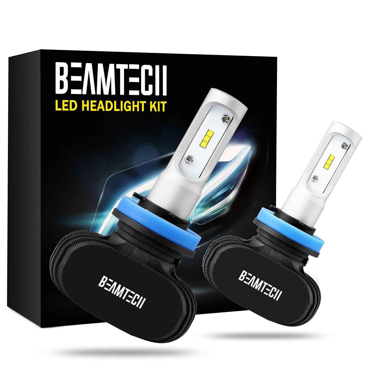 BEAMTECH H11 LED Headlight Bulb, 50W 6500K 8000Lumens Extremely Brigh H8 H9 CSP Chips Conversion Kit by BEAMTECH