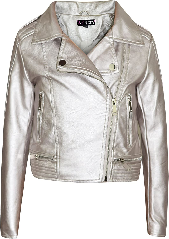 Details about Kids Jacket Girls Designer's PU Leather Jackets Zip Up Biker Coats 7 13 Years