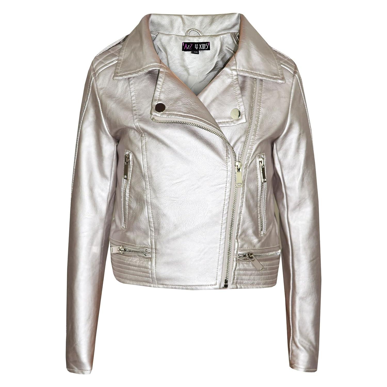 1e2202cf2273 A2Z 4 Kids® Girls Jackets Kids Designer's Metallic Silver PU Faux Leather  Jacket Fashion Zip Up Biker Coat Overcoats New Age 5 6 7 8 9 10 11 12 13 ...