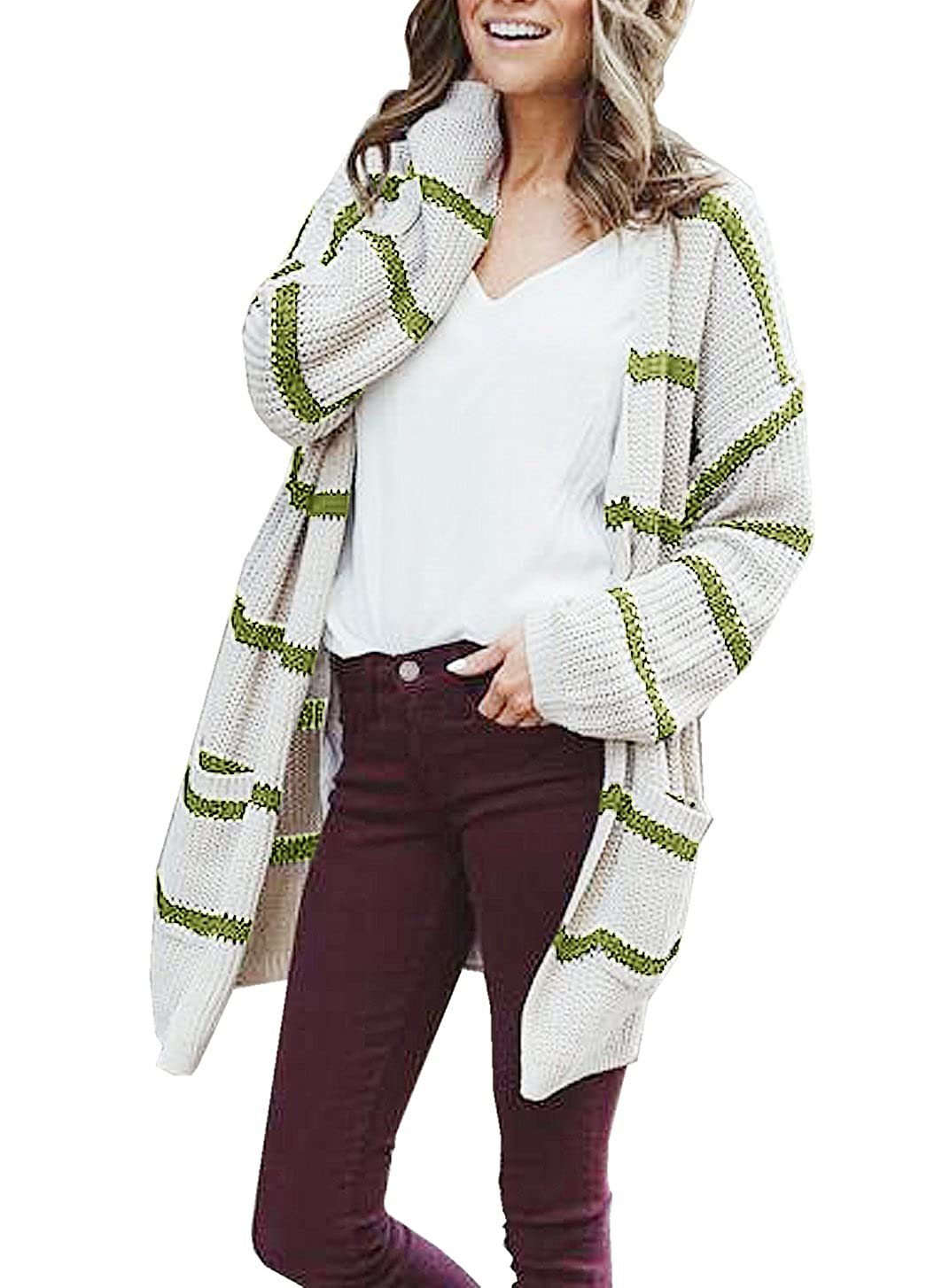 6342685b06 Saodimallsu Womens Long Cardigans Fall Striped Boho Cable Knit Open Front  Sweater Pullover Tops at Amazon Women s Clothing store