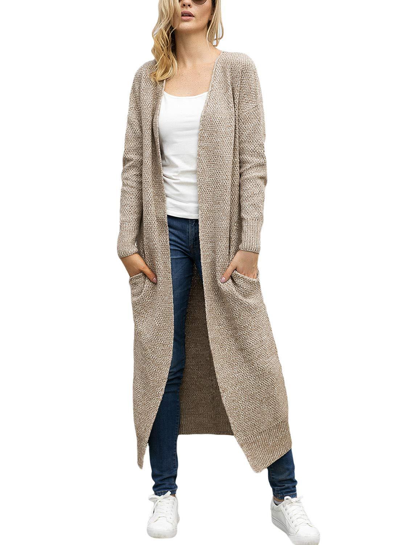 Lookbook Store Women's Casual Open Front Knit Outerwear Pocket Long Cardigan Sweater Khaki Size S