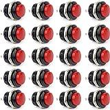 Clyxgs SPST Mini Push Button Switch AC250V/3A AC125V/6A No lock Round Momentary Push Button Switch Red Cap 20-Pack