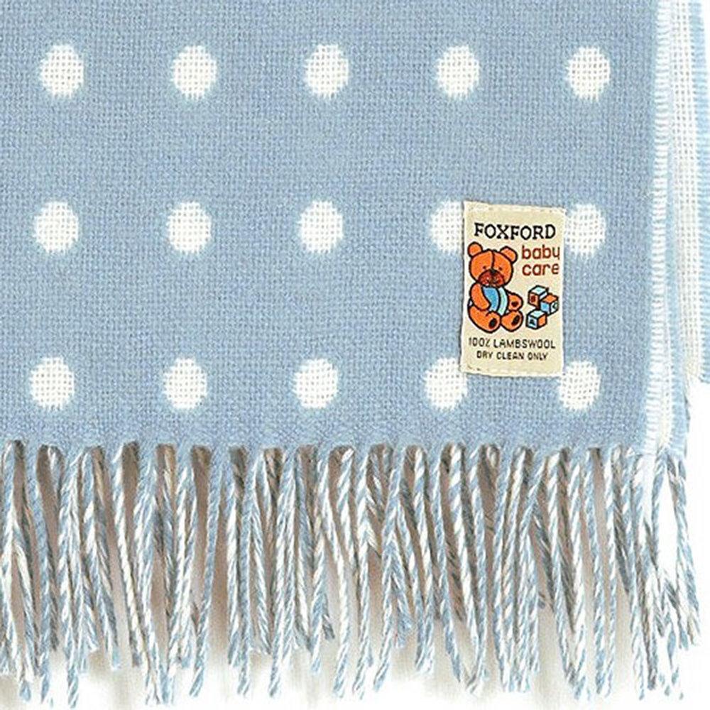 Blue Irish Foxford Spot Baby Blanket 75x100cm