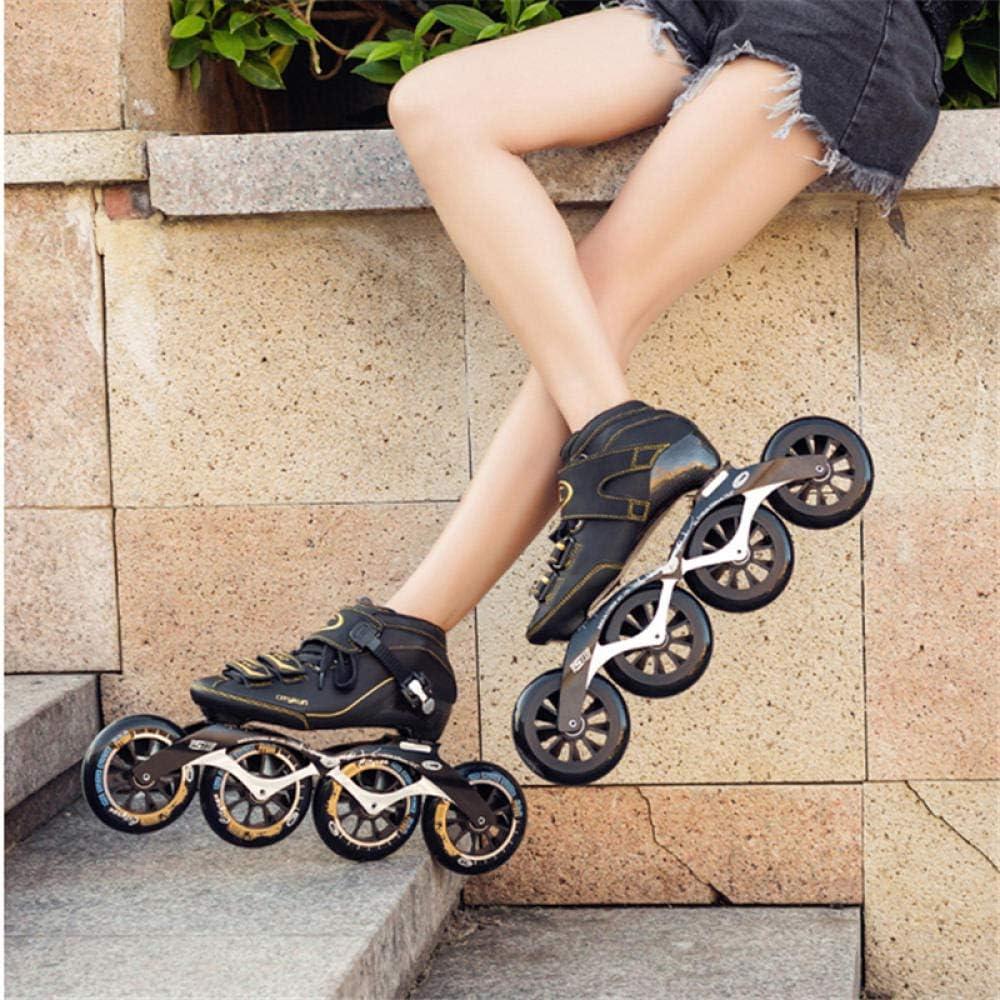 Patins /à roulettes Quad pour Adultes Sports de Plein air Fitness pour Hommes et Femmes Patins /à roulettes,35-White BENREN Patins /à roulettes Lames Chaussures de Patinage de Vitesse Professionnelles