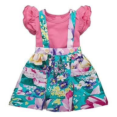 Borlai 0-24 M bebé niña Volantes Romper + Floral Suspender Falda ...