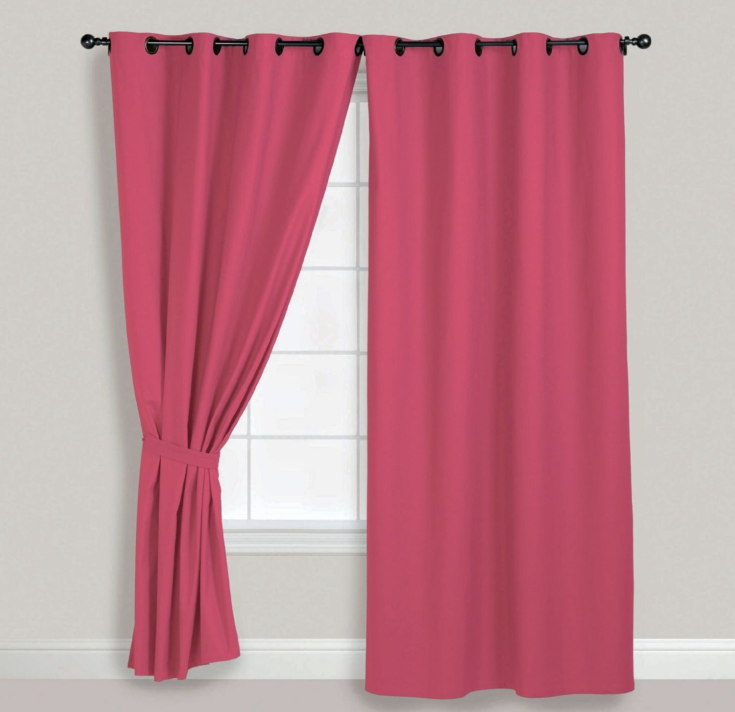 Hot pink curtains - Amazon Com 4 Pices Solid Suede Grommet Top Curtain Panel Drape Purple Home Kitchen