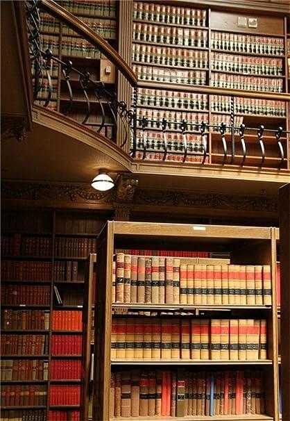 Laeacco 5x7ft Vinyl Backdrop Photography Background Bookshelf Law School Library Study Room Interior Scene Retro