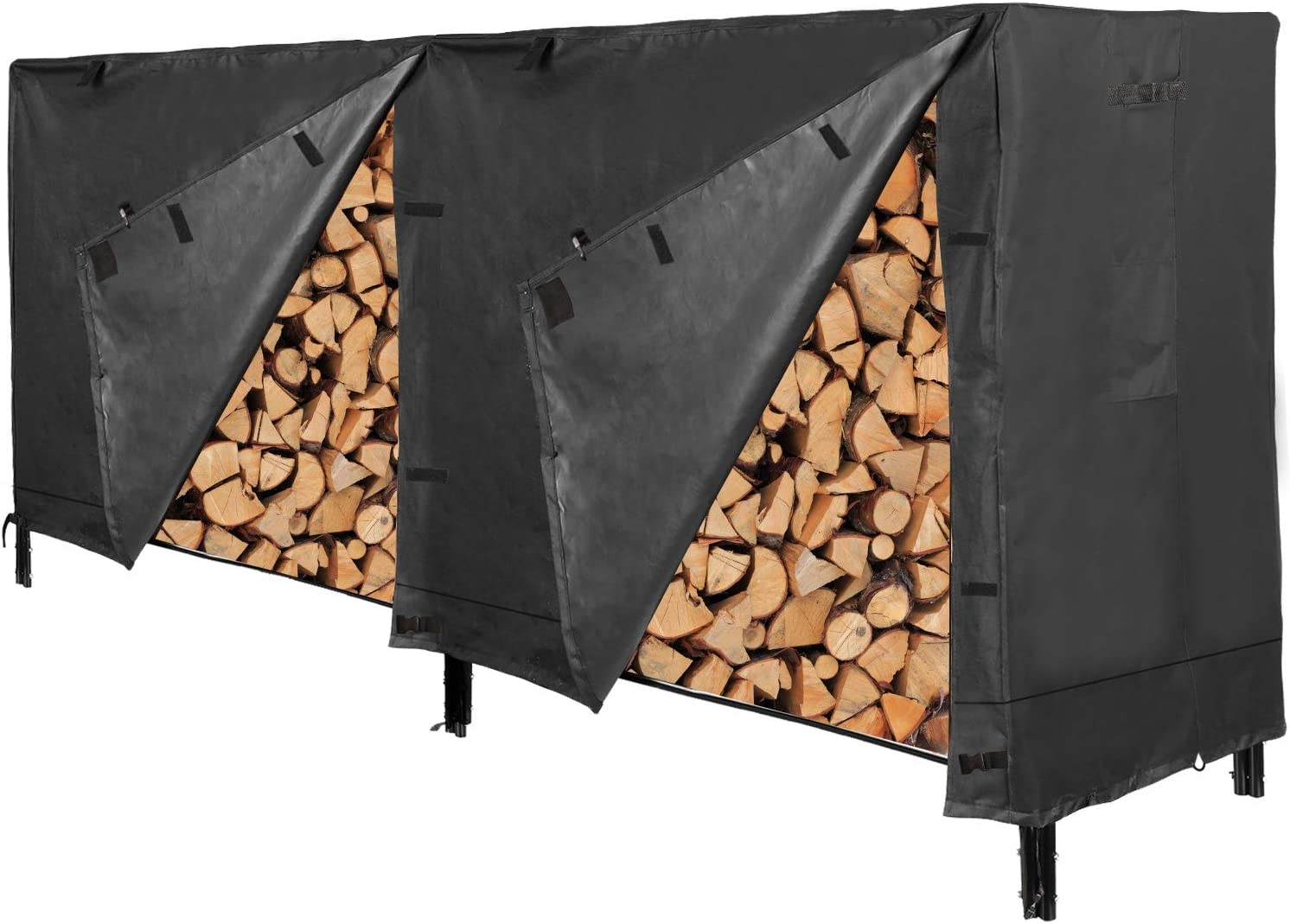 RedSwing Firewood Rack Cover 8 Ft, Log Rack Cover, Heavy Duty and Water Resistant 600D Oxford Firewood Cover, All Weather Protection, Black