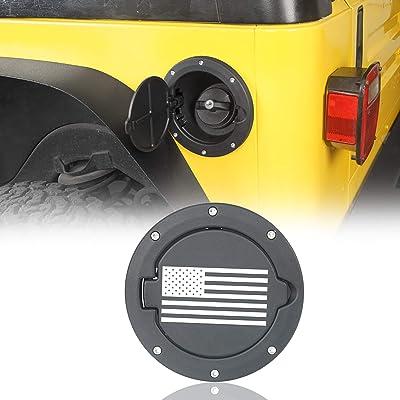 Hooke Road US Flag Gas Cap Fuel Filler Door Tank Cover for Jeep Wrangler TJ 1997-2006: Automotive