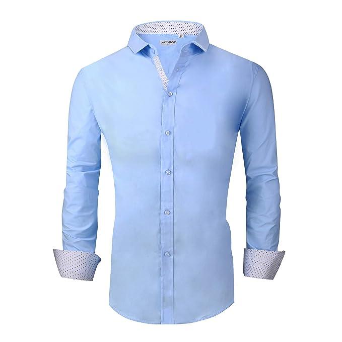 9ed6fc819c8 Alex Vando Mens Big & Tall Dress Shirts Regular Fit Long Sleeve Men Shirt