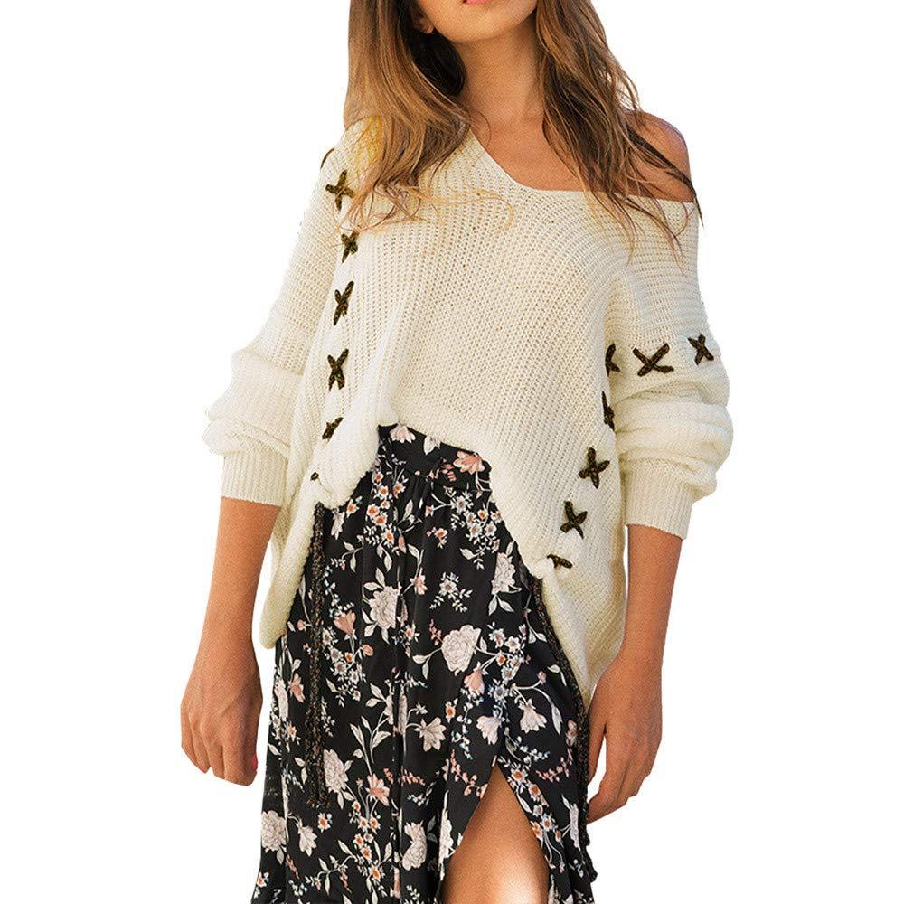 Mujer sudadera otoño,Sonnena ❤ Suéter de manga larga de mujer de moda de invierno Tops tejidos del vendaje Blusa suelta de suéter: Amazon.es: Hogar